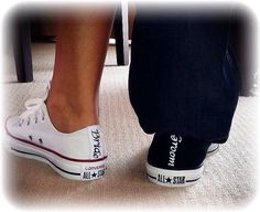 2 pairs bride and groom black & white Converse all star chucks sneakers tennis shoes hand made sparkly wedding mrs bride groom i do date by CrystalCleatss on Etsy https://www.etsy.com/listing/226841011/2-pairs-bride-and-groom-black-white