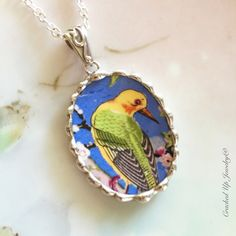 Broken China Jewelry. Broken China Necklace, Colorful Bird, Chintz China, Crown Ducal, Recycled China, Antique China Jewelry