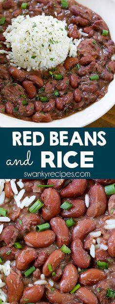(NOLA)Red Beans and Rice — taste the French Quarter. Authentic New Orleans Red Beans and Rice made with Andouille Sausage, ham, Creole seasoning, & rice. an authentic Red Beans & Rice the NOLA, real d Seasoned Rice Recipes, Easy Rice Recipes, Cajun Recipes, Side Dish Recipes, Crockpot Recipes, Dinner Recipes, Cooking Recipes, Cajun And Creole Recipes, Gourmet