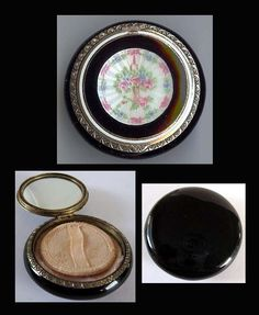 Vintage compact is marked F STERLING. Inside is a mirror and puff with place for powder with no additional compartments