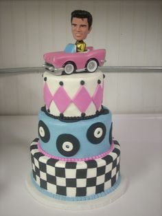 RETRO FIFTIES Birthday Cake, by www.lulussweetexpectations.com.  Buttercream with fondant accents and plastic Elvis topper.