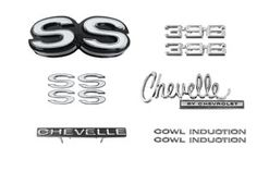 EMBLEM KIT, 70 CHEVELLE SS 396 WITH COWL INDUCTION  Camaro Parts/Chevelle Parts/El Camino Parts/Nova Parts/67-72 Chevrolet Truck Parts/Accessories/Automotive/Restoration/Used Parts/Consignment Muscle Cars/Rancho Cordova/916.638.3906