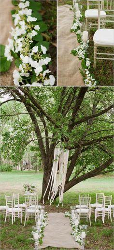 Romantic April Wedding Ceremony Decor with Burlap, Candles, Ribbons, and Antique Hydrangeas