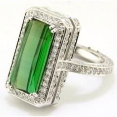 Green Tourmaline and Diamonds, can't get enough green!