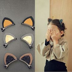 New Fashion Sale 1 Piece 6 Colors Girls Lovely Cat Ear Hairpin Cute Headwear Hair Accessories not 1 pair.hair accessories Cute Cat Ear Baby Hair Clips Looking for a hair accessory to make your little joy cuter? These glittery hair clips will look fan Diy Hair Bows, Diy Bow, Ribbon Hair, Baby Hair Clips, Baby Headbands, Baby Hair Accessories, Fancy Hairstyles, Creative Hairstyles, Hair Barrettes