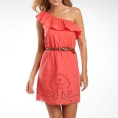B Smart One Shoulder Ruffle Dress
