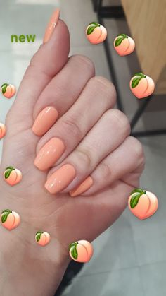 Coral Nail Designs Simple Acrylic Nails, Best Acrylic Nails, Summer Acrylic Nails, Summer Nails, Squoval Acrylic Nails, Peach Nails, Orange Nails, Purple Nails, Peach Colored Nails