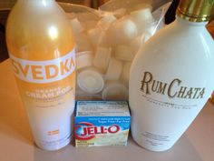 Orange Creamsicle Pudding Shots: you need a box of  pudding mix, 8 oz Cool Whip, 1 cup of cold milk, 1/4 cup of Svedka orange cream and 3/4 cups of rum chata.  Combine pudding mix, cold milk and liquors together and then fold in 8 ounces (regular size) of cool whip.  Pour into shot cups and freeze.  ENJOY!