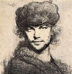 Rembrandt Harmenszoon van Rijn, Self Portrait in a Heavy Fur Cap: Bust, Etching on paper. Classic Paintings, Portrait Drawing, Dutch Painters, Dutch Artists, Painting Courses, Art, Observational Drawing, Etching, Rembrandt Self Portrait
