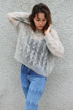 Oversized Mohair Sweater Loose Knit Cropped Sweater Cable Knit Cropped Sweater Cable Knit Jumper Long Sleeve Pullover Bohemian Clothing Light Gray Grunge Sweater Top #mohair_sweater #mohairsweater