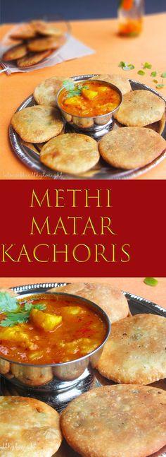 Delicious Methi Matar Kachoris for Diwali. Served with a delectable Aloo Tamatar Ki Sabzi, Methi Matar Kachoris are perfect any special occasion