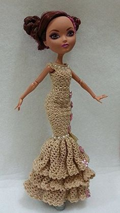 Ever After High Doll Clothes, Crochet Doll Dress by MDMTN: Amazon.es: Juguetes y juegos