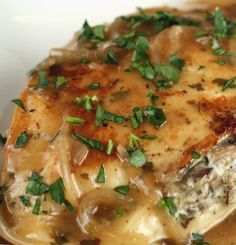 Recipe For Mushroom Stuffed Chicken with Shallot Pan Sauce - This recipe is a fantastic way to put your ordinary chicken breast in it's Sunday best.