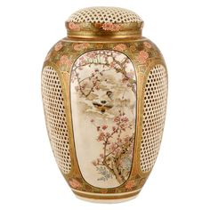 Japanese Antique Satsuma Pot-Purri Covered Jar by Ryozan, Late 19th century,Hand painted and pierced ceramic