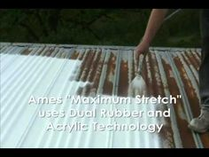 How to waterproof a metal with Ames Maximum Stretch Waterproof Coating. Metal Shed Roof, Metal Roof Paint, Metal Roof Repair, Metal Roof Coating, Mobile Home Repair, Shed With Porch, Corrugated Roofing, Fibreglass Roof, Remodeling Mobile Homes