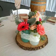 Rustic centerpiece Rustic Centerpieces, Table Decorations, Rustic Flowers, Furniture, Home Decor, Flowers, Decoration Home, Room Decor, Home Furnishings