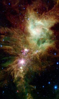 Stellar Snowflake Cluster | Newborn stars, hidden behind thick dust, are revealed in this image of a section of the Christmas Tree Cluster from NASA's Spitzer Space Telescope. The newly revealed infant stars appear as pink and red specks toward the center and appear to have formed in regularly spaced intervals along linear structures in a configuration that resembles the spokes of a wheel or the pattern of a snowflake.
