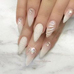 stiletto nail art ideas | inspiration | white | shell | silver glitter | mermaid | #diamond | #rhinestones | gem | jewels | matte | ombre | acrylic | gel polish
