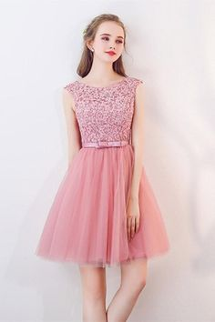 Prom Dresses Beautiful, Lace Up Short Pink Lace Tulle A-line Simple Homecoming Dresses Party Dresses, Looking for the perfect prom dress to shine on your big night? Prom Dresses 2020 collection offers a variety of stunning, stylish ball. Simple Homecoming Dresses, Grad Dresses, Dresses Uk, Sexy Dresses, Evening Dresses, Short Dresses, Fashion Dresses, Formal Dresses, Party Dresses