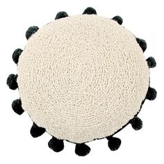 Lorena Canals Circle Cushion, Made of eco-friendly cotton, Polyester and non-toxic dyes, Machine washable, round cushion with tassels. Lorena Canals Teppich, Lorena Canals Rugs, Black Cushions, Floor Cushions, Outdoor Cushions, Sofa Cushions, Ikea Hacks, Machine Washable Rugs, Round Design