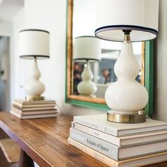 Simple gourd lamps updated with custom lampshades elevate this console styling. Console Styling, Coffee Table Styling, Bookshelf Styling, Interior Styling, Interior Design, Gourd Lamp, Custom Shades, Lampshades, Beautiful Interiors
