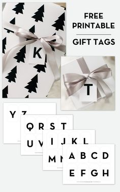 Free Printable Alphabet Gift Tags | The TomKat Studio Download here: http://www.thetomkatstudio.com/free-printable-modern-alphabet-gift-tags/