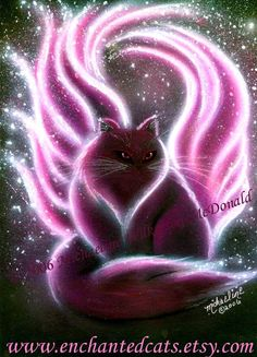 """""""Amethyst Fairy Cat"""". This is the first of my gemstone fairy cats series. This glamorous fairy cat has glowing pink wings and a voluminous tail that wraps around her.  Painted by Michaeline Wilkerson-McDonald"""