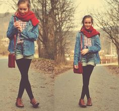 red scarf #beautiful #fashion #autumn