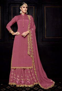 Pink Uppada Silk Designer Pakistani Palazzo Suit  #palazzosuit #palazzosuitonline #onlinepalazzosuit #dress #onlineindiandress #sale#nikvik #freeshipping #usa #australia #canada #newzeland #Uk #UAE