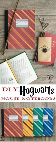 Harry Potter Craft Idea – The Polka Dot Chair DIY Hogwarts Inspired House Notebooks; Harry Potter Craft Idea – The Polka Dot Chair Harry Potter Diy, Harry Potter Thema, Harry Potter Classroom, Theme Harry Potter, Harry Potter Birthday, Harry Potter World, Harry Potter Hogwarts, Harry Potter Notebook, Harry Potter Book Covers