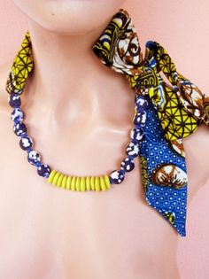 Tie  Scarf Necklace - African fabric recycle glass beaded jewelry