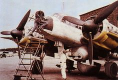 German Ju-88G Night Fighter being fitted with a FI-A-103Z gun pack.