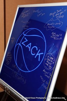 Basketball Theme Bar Mitzvah Sign-in Board with Modern Logo {Chad David Kraus Photography} - mazelmoments.com