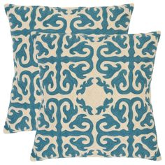 Morrocan 22-inch Embroidered Blue Decorative Pillows (Set of 2) | Overstock.com