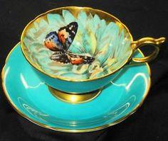 Aqua butterfly teacup