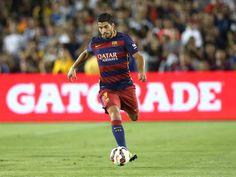 Luis Suarez #9 of FC Barcelona controls the ball 2015 at Rose Bowl on July 21, 2015 in Pasadena, California  @ fashionreality