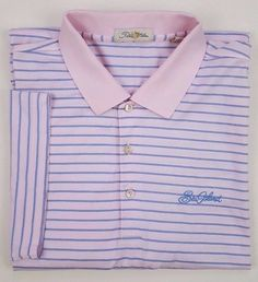 64f89310b3b5 PETER Millar XL Polo SHIRT Striped PINK Blue MENS Size COTTON Double  MERCERIZED   PeterMillar