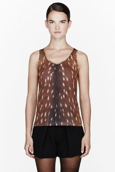 My newest purchase! CARVEN Brown Jersey Fawn Print Tank. Love. It.