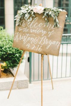 Rustic wood wedding sign: http://www.stylemepretty.com/washington-dc-weddings/2016/07/01/pretty-pink-peonies-take-center-stage-at-this-dc-wedding/ | Photography: Elizabeth Fogarty - http://www.elizabethfogartyphotography.com/