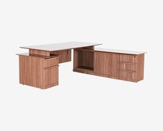 Dania - Establish a dynamic presence in your office with the Avoz executive desk set with reversible return.  Features a large workspace and a reversible return to ensure the best fit in any room. Return section provides three smooth-glide drawers, two cabinets, and a small and large cubby space.