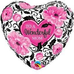 "18"" Wonderful Mom Damask - Non-Pkg Foil Balloon (5ct)"