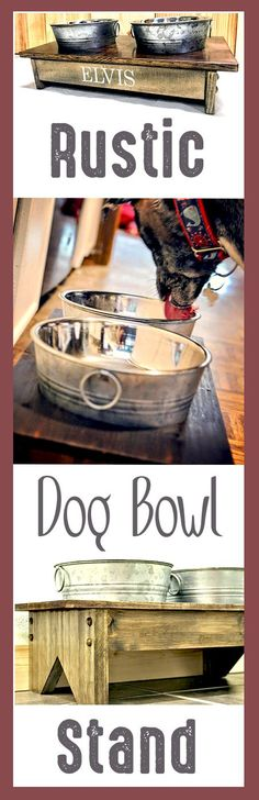 Rustic Wooden Dog Bowl Stand #affiliate