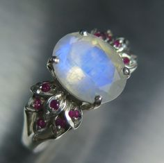 2.35cts Natural rainbow moonstone & red rubies Sterling by EVGAD