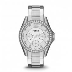 Fossil Riley Multi-Function Crystal Dial Stainless Steel Ladies Watch For Women. Fossil Watches For Women. Fossil Watch For Women. Watch Gift Ideas For Her/GirlFriend/Wife. Tj Max, Stainless Steel Watch, Stainless Steel Bracelet, Bracelets Bleus, Bangles, Bracelet Silicone, Gold Models, Fossil Watches, Women's Watches