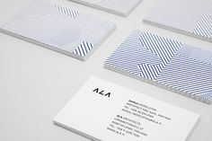 Logo and business card design with geometric pattern detail by Kokoro & Moi for Helsinki based architecture firm ALA