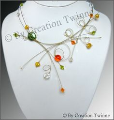 swirls necklace, orange, yellow, green, glass, swarovski crystals, pearls, bridesmaids necklace, wedding necklace, bridal necklace. $58.00, via Etsy.