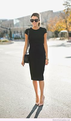 Black pencil dress and nude pumps