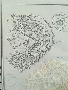 from Asahi Original Crochet Lace Cafe 2014 - Salvabrani Crochet Snowflake Pattern, Crochet Snowflakes, Crochet Flower Patterns, Lace Patterns, Crochet Designs, Crochet Flowers, Crochet Hearts, Crochet Books, Thread Crochet