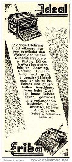 Original-Werbung/ Anzeige 1937 - IDEAL ERIKA SCHREIBMASCHINE / VORM. SEIDEL & NAUMANN  - ca. 45 x 100 mm
