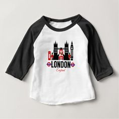 London England 3/4 Sleeved Baby Top - red gifts color style cyo diy personalize unique